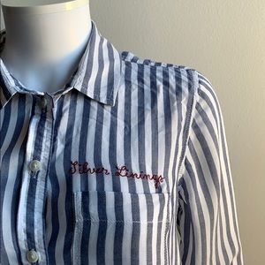 Embroidered American Eagle Striped Blue Shirt S